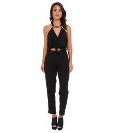 Tbags Los Angeles Woven Convertible Jumpsuit w/ Black/Gold Neck Piece