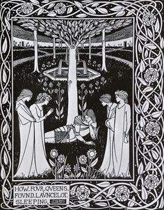 How Four Queens found Launcelot Sleeping - Aubrey Beardsley (1872 - 1898)