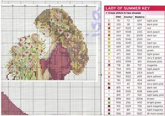 giant chart: girl embroidered pictures - crafts ideas - crafts for kids
