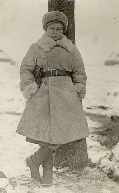 Red Army woman-officer of a health service in a winter uniform. Winter 1942-43.  The lieutenant of Soviet Army Burova.