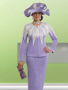 Donna Vinci Knits 13206 Dynamic Rhinestone Designed Knit Skirt Suit For Ladies