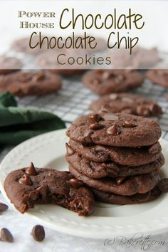 These chocolate chocolate chip cookies are chocolaty, fudgy, and chewy. They are made with a secret ingredient that make these chocolate chip cookies a power house | Bakerette.com #dessert #cookies