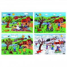 A set of 4 illustrated puzzles depicting one scene in each of the four seasons. Size: 30 x Four Seasons, Puzzles, British Schools, Scene, Weather, Illustration, Handmade, Painting, Inspiration
