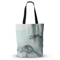 """Sam Posnick """"Sea Turtles"""" Green Blue Everything Tote Bag"""