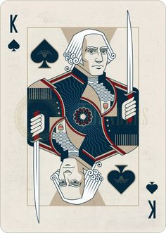 Playing Cards - King Of Spades, George Washington, Founders by the US Playing Card Company (USPCC) - playingcards, playingcardsart, playingcardsforsale, playingcardswiththefamily, playingcardswithfamily, playingcardsgame, playingcardscollection, playingcardstorage, playingcardset, playingcardsproject, cardscollector, playingcard, design, illustration, cards, cardist