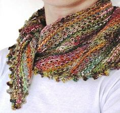 Odds and Ends Kerchief by Giddy Davies, free pattern on Ravelry, designed to use up small scraps of yarn. Knitting Stitches, Knitting Patterns Free, Knitting Yarn, Free Knitting, Crochet Patterns, Free Pattern, Simple Pattern, Knitted Shawls, Crochet Scarves