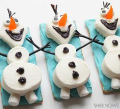 Olaf the Snowman Snacks How-To for a Frozen party? Frozen Birthday Party, Disney Frozen Party, Frozen Theme, Birthday Parties, Olaf Party, Snowman Party, Elsa Birthday, Frozen Movie, Holiday Treats