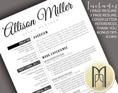 resume template and cover letter template professional design cv download custom word doc personalize simple modern and creative resume