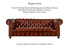The Brighton Sofa Style by Casco Bay Furniture - A Tufted Leather Furniture Special, The Brighton features a tufted back and arms with a tufted front panel. Tufted Sofa, Chesterfield Chair, Leather Furniture, Leather Sofa, Casco Bay, Sofa Styling, Restoration Hardware, Brighton, Accent Chairs