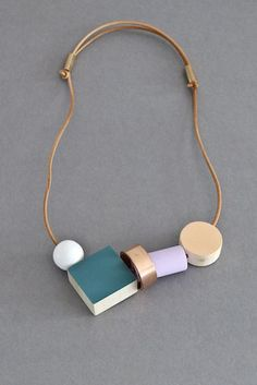 Ladies and Gentlemen block and ring necklace - teal