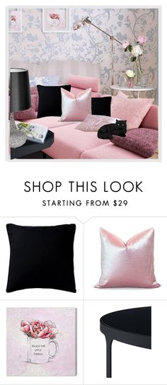 """pink n black"" by chimechn ❤ liked on Polyvore featuring interior, interiors, interior design, home, home decor, interior decorating, Fogarty, Oliver Gal Artist Co. and Universal Lighting and Decor"