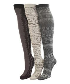 Take a look at this Gray & White Over-The-Knee Socks – Set of Three - Women by MUK LUKS on #zulily today!