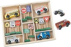 Wooden Vehicles & Traffic Signs (Melissa & Doug) have this at G-ma's House Toys R Us, Kids Toys, Transportation Unit, Pretend Play Kitchen, Block Play, Christmas Train, Christmas Toys, Christmas Ideas, Melissa & Doug