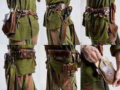 LARP satchel inspirations: Wize Man's Belt by Marcusstratus on DeviantArt Live Action, Grandeur Nature, Fantasy Costumes, Larp Costumes, Medieval Costume, Medieval Clothing, Medieval Belt, Leather Projects, Leather Crafts