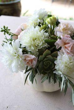 diy: pumpkin floral arrangements