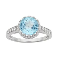 Fuzion Creations Swiss Blue Topaz & White Sapphire Round-Cut Crown... (135 BRL) ❤ liked on Polyvore featuring jewelry, rings, white sapphire jewelry, glitter jewelry, crown jewelry, crown ring and white sapphire ring