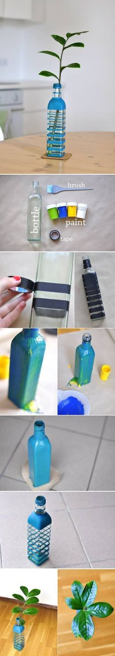 DIY Colored Bottle Vase DIY Projects