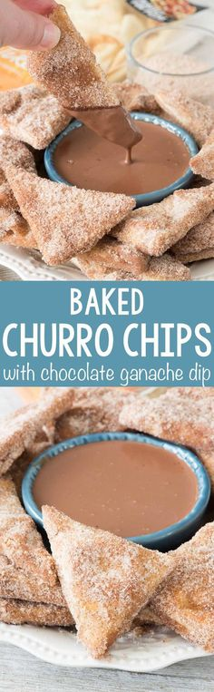 Baked Churro Chips with chocolate ganache dip - this EASY recipe starts with naan and becomes a crunchy churro chip, best dipped in rich chocolate ganache dip!