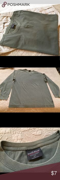Army green, buttery soft Woolrich shirt A heavy, very soft, well made men's long sleeve Woolrich shirt. Already broken in for you, but with lots of life left. Bundle with the cargo pants or hiking shorts for a great deal! Woolrich Shirts Tees - Long Sleeve