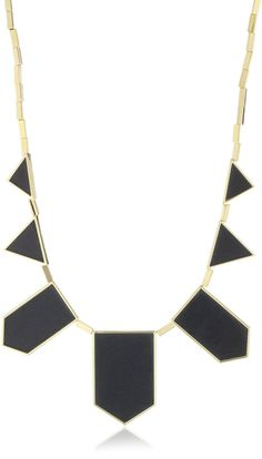 House of Harlow 1960 14k Yellow-Gold-Plated Black Leather Station Necklace 18 inches plus 2 inch extender  shop all House of Harlow 1960 customer reviews (2)  $75.00