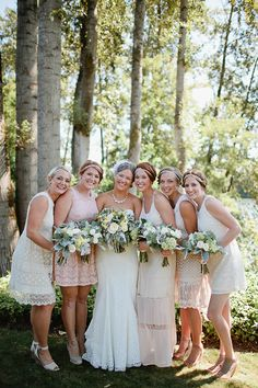 bridesmaids with retro headbands - photo by Nakalan McKay Photography http://ruffledblog.com/pacific-northwest-wedding-with-country-touches #bridesmaidsdresses #bridesmaid #bridalparty