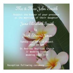 Pretty Frangipani / Plumeria Wedding Invitations
