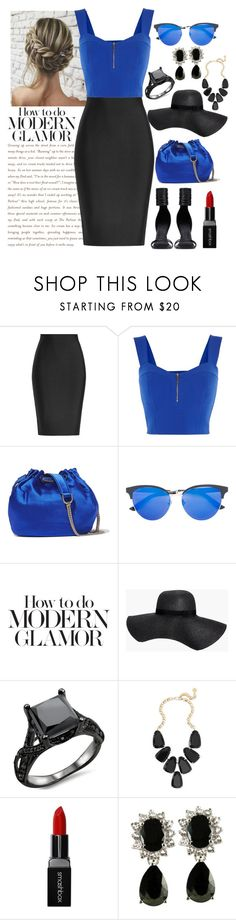 """2 colors - Blue and Black"" by foxxyslang ❤ liked on Polyvore featuring Roland Mouret, Karen Millen, Rick Owens, Diane Von Furstenberg, Gucci, Boohoo, Kendra Scott and Smashbox"