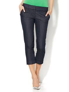Shop 7th Avenue Design Studio Pant - Signature Fit - Cuffed Crop - Hidden Blue . Find your perfect size online at the best price at New York & Company.