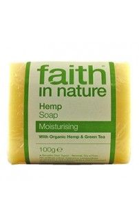 Faith in Nature Hemp Soap. Organic Hemp is high in GLA and Omega Fatty Acids and, blended in this soap with other natural fragrant oils and fairly traded organic Green Tea, moisturises and rejuvenates skin whilst soothing and enriching. - See more at: http://www.yourhealthfoodstore.co.uk