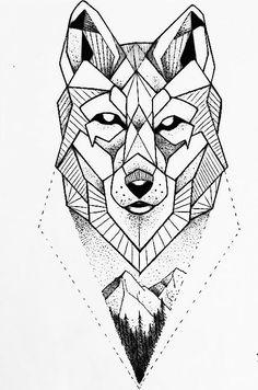 Geometric wolf dotwork on ink wolf tattoo design, geometric