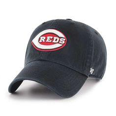 cc02bfdabac1e Cincinnati Reds 47 Brand Black Red White Clean Up Adjustable Hat