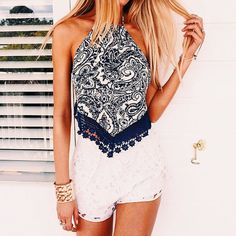 Outfit  @ http://www.trendfolder.com/ #blond hair,  #shorts