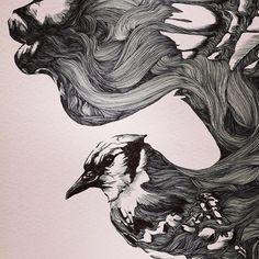 Kiss the sky by Gabriel Moreno. Beautiful Sketches, Murals Street Art, Muse Art, Mushroom Art, Abstract Line Art, Expressive Art, Pen Art, Beauty Art, Art Techniques