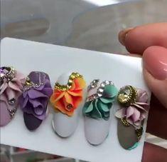 3d Acrylic Nails, Acryl Nails, 3d Nail Art, 3d Nails, Long Nail Designs, Flower Nail Designs, Pretty Nail Designs, Nail Art Designs, 3d Flower Nails