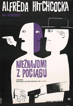 JANOWSKI: Nieznajomi z pociagu  / Alfred Hitchcock - vintage Polish movie poster-stranger on a train