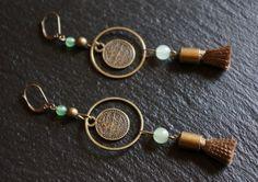 Boucles dOreilles ANOUK, laiton et Jade : Boucles doreille par bleu-boheme sur ALittleMarket