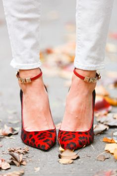 Red Leopard ankle strap pumps