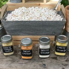 Wedding Food How To Make A Killer DIY Popcorn Bar - Kernel Season's - Easy, cheap and fun way to create a DIY Popcorn Bar for your next event from Kernel Season's. Kernel Season's, Reception Food, Wedding Reception, Grad Parties, Catering, Food And Drink, Treats, Recipes, Wedding Snack Bar