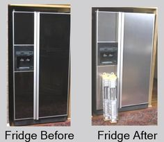 "How to upgrade your old fridge for $50 using stainless steel PAINT (This is the newest ""rage"" in kitchen backsplashes, so I am actually thinking of using it to upgrade in my kitchen....)"