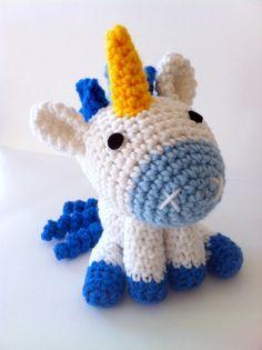 Blue Unicorn amigurumi plushie doll fantasy. $25.00 by amiamour