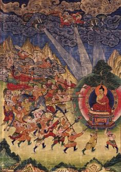 Shakyamuni Buddha and Mara Buryatia. Ground Mineral Pigment on Cotton. 1800s. Tibet.