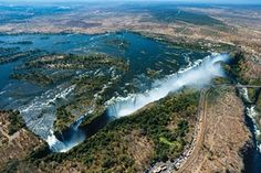A view of Victoria Falls on the Zambia-Zimbabwe border taken from a helicopter.