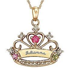 Princess Crown Birthstone Necklace