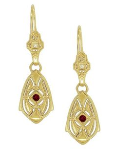 Art Deco Dangling Sterling Silver Ruby and Diamond Filigree Earrings with Yellow Gold Vermeil. These are set with natural rubies.