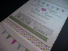 Spotty Bunting themed pocketfold wedding invitations