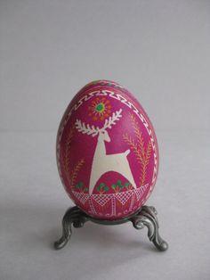 Pink Pysanka egg shell hand painted batik, Ukrainian Easter egg