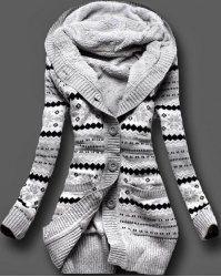 Stylish Shawl Collar Long Sleeve Slimming Women's Cable Cardigan ...