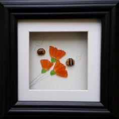 Sea Glass Flowers and Bees. Sea Glass Art by CornishPebbleArt
