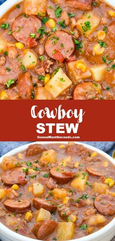 Meat Recipes 90920 *NEW* Cowboy stew is full of wholesome veggies and tender succulent varieties of savory meat that mingle to create an unmistakably crave-worthy flavor. Easy Soup Recipes, Healthy Recipes, Healthy Soups, Veggie Stew Recipes, One Pot Recipes, Good Recipes For Dinner, No Carb Dinner Recipes, Easy Delicious Dinner Recipes, Easy Crockpot Soup