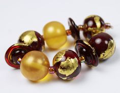 Lampwork Glass Bead Set Red Gold Leaf by StoneDesignsbySheila, $40.00